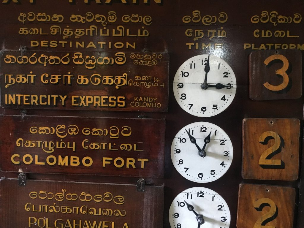 Train times and platforms at Kandy