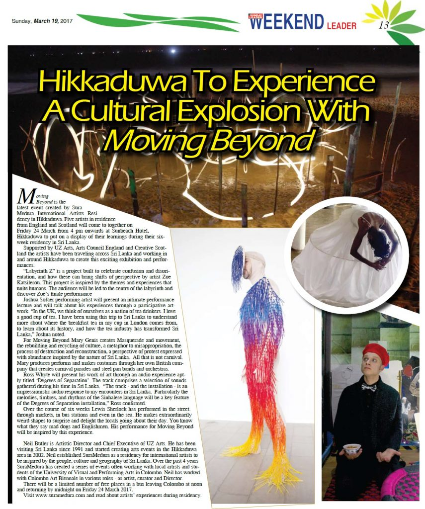 Hikkaduwa press for Moving Beyond - Weekend Leader