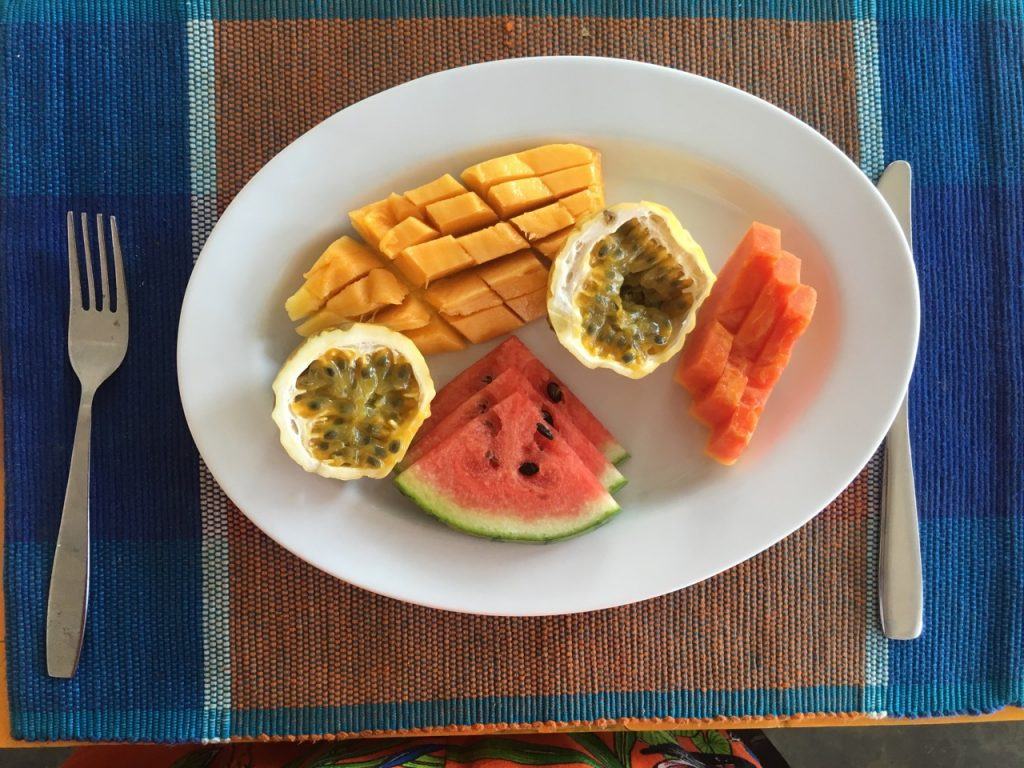 Breakfast fruit platter at Sunbeach Hotel Hikkaduwa