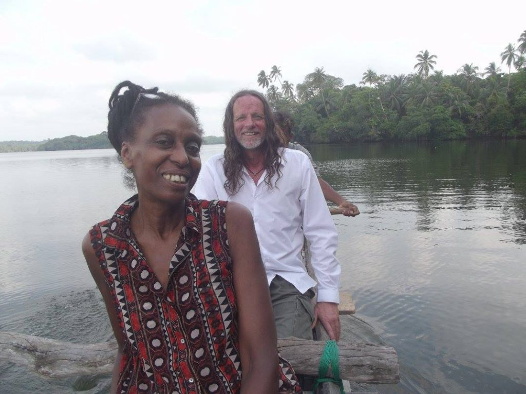 Mary and T on Rathgama Lagoon in Dodanduwa Sri Lanka